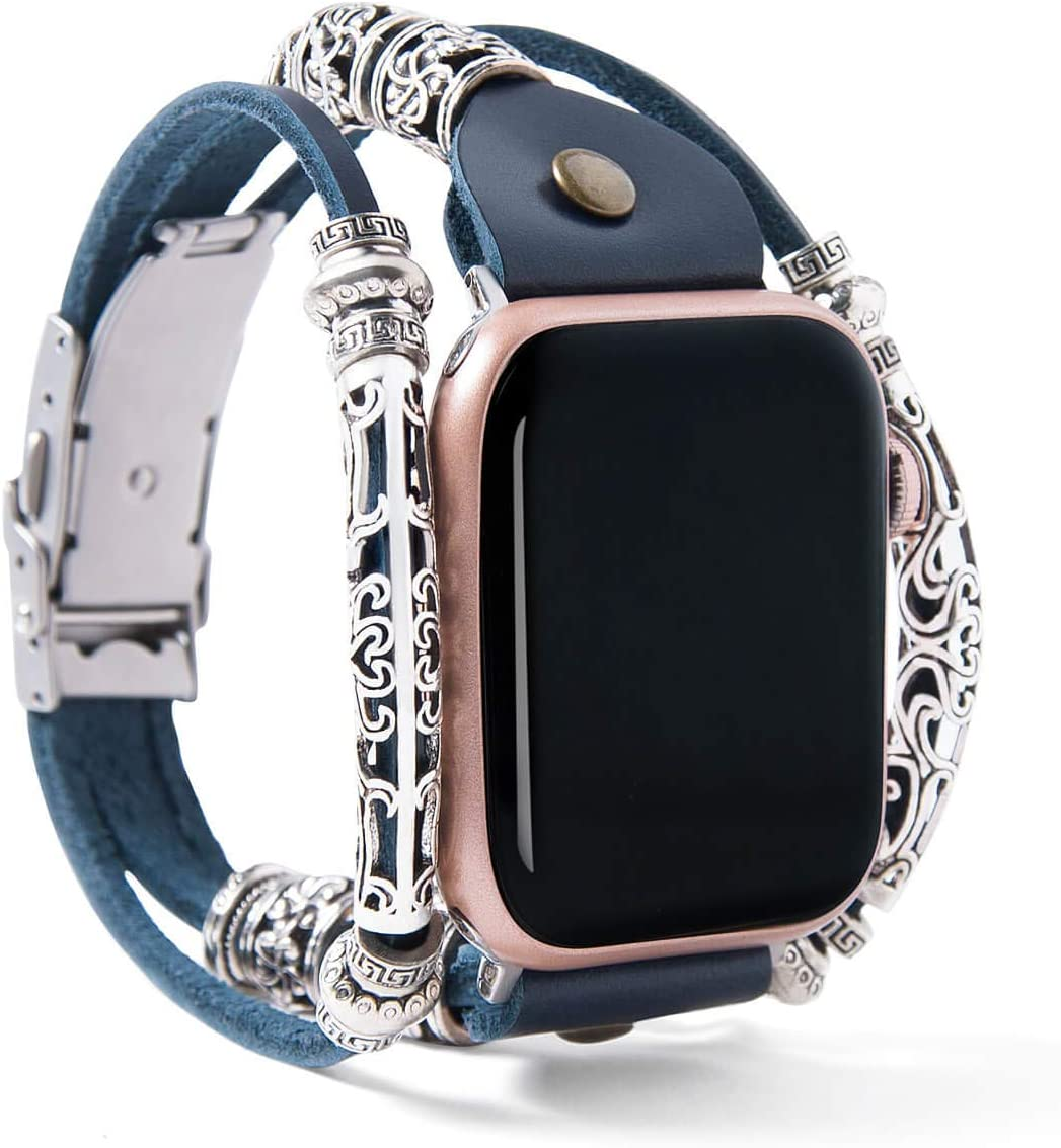 FTWIND Watch Bands Compatible With Apple Watch Cute Retro Vintage Bracelet Leather Metal Series 6 5 4 3 2 1 SE Size 44/42/40/38mm Women Men Navy Blue/Silver Connector (Blue/Silver Connector, 40)