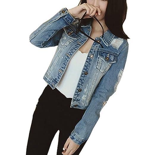 719a2de6da569 JudyBridal Womens Ripped Jean Jacket Juniors Button Vintage Petite Denim  Jacket Blue XS