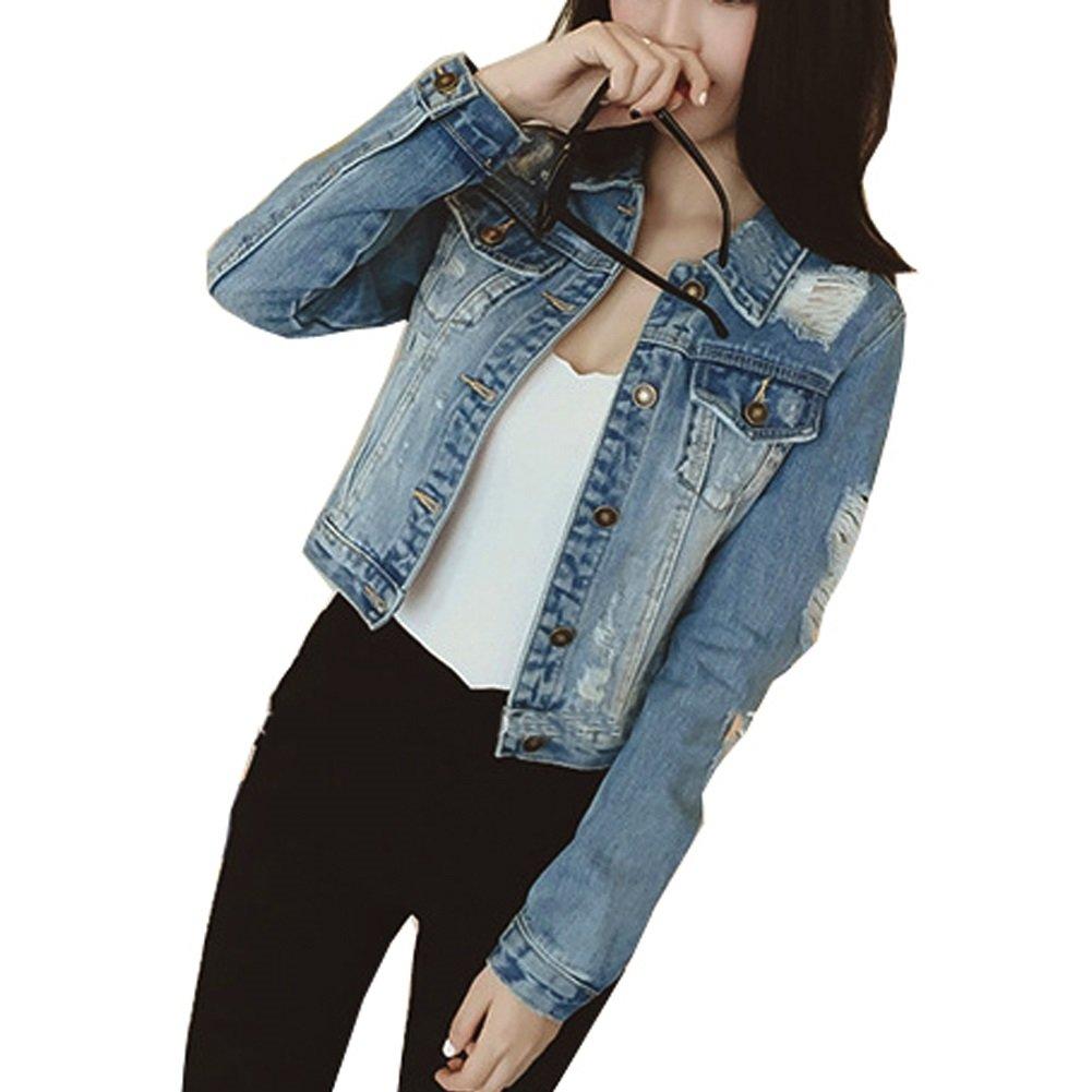 JudyBridal Womens Ripped Jean Jacket Juniors Button Vintage Petite Denim Jacket Blue S