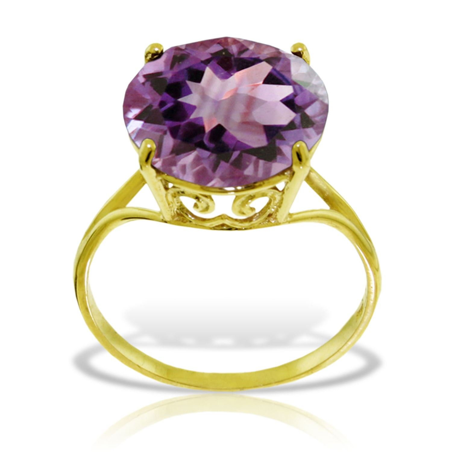 ALARRI 14K Solid Gold Ring with Natural 12.0 mm Round Amethyst With Ring Size 6.5