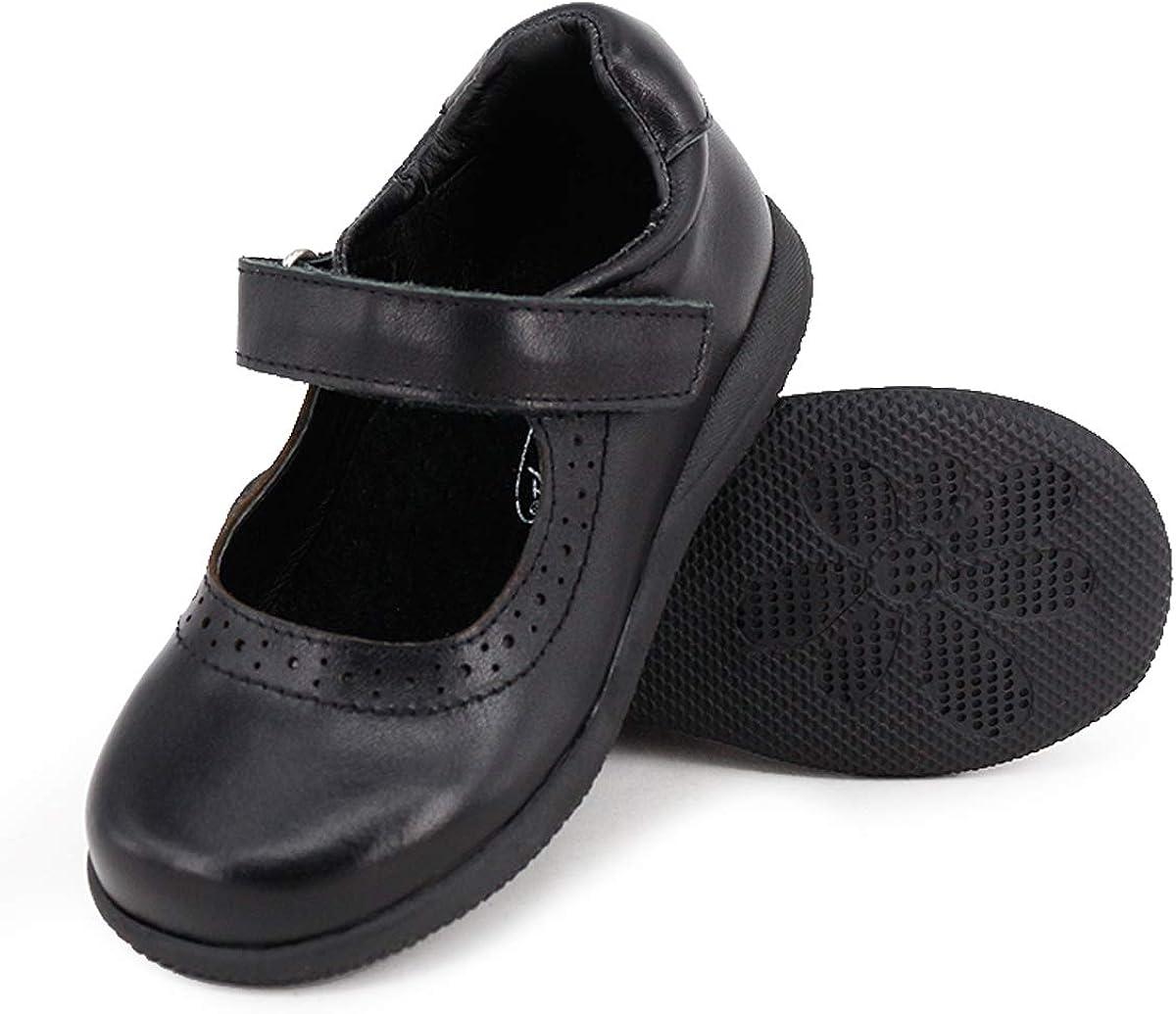 Noir Happystep Cuir veritable Uniforme Scolaire Chaussures Style Marie-Jeanne /à Babies Fille Dessus Cuir Souple