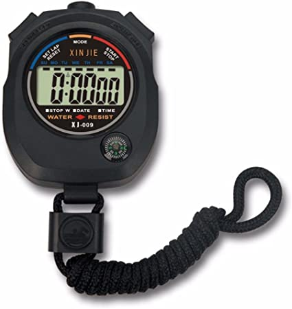 Black Water Resistant Chronograph w// Large LCD Display Digital Stopwatch Timer
