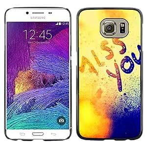 TECHCASE**Cubierta de la caja de protección la piel dura para el ** Samsung Galaxy S6 SM-G920 ** Miss You Mist Love Sun Golden Text