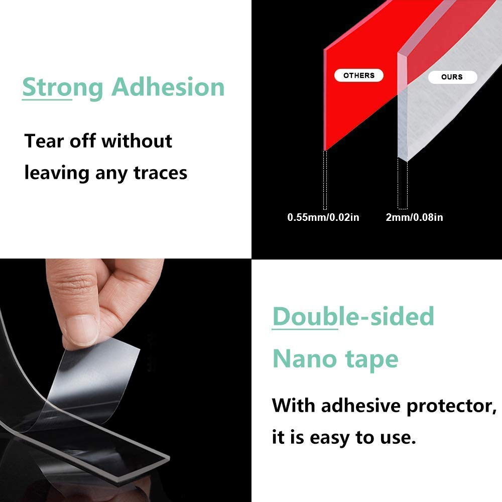 [2 Pcs]Double Sided Nano Tape,Multipurpose Removable Transparent Tape with Strong Sticky Washable Resuable for Household and Industrial (16.5FT/5M)