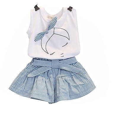 4ecfceadcdceb0 Amlaiworld ❤️Ensembles de Bébé Filles Filles Mignon T-Shirt Bow Chemise de  modèle de
