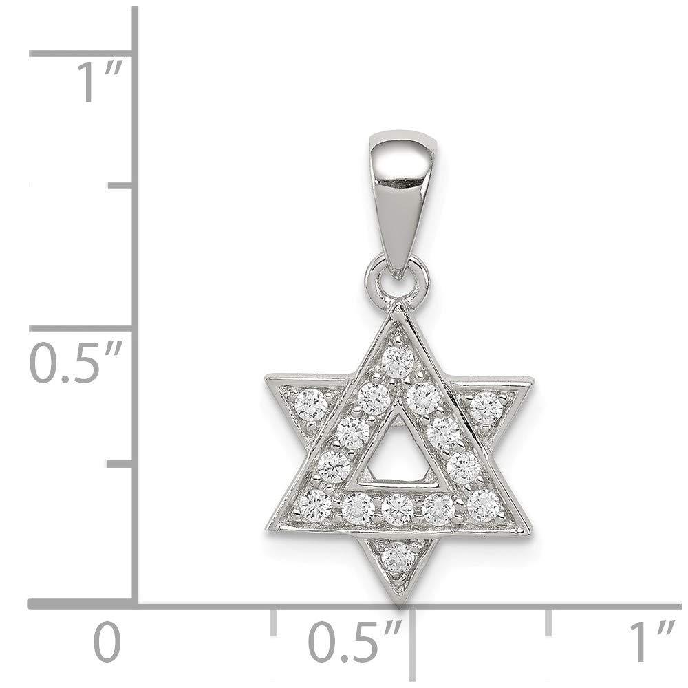 Mia Diamonds 925 Sterling Silver Cubic Zirconia Star Of David Pendant 14mm x 12mm