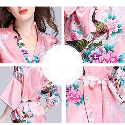 Vestaglie da da Rosso1 Donna Pigiama Camicia Notte Notte Kimono in Raso AZPqSOCw