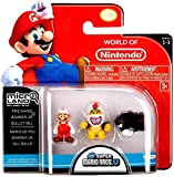 Nintendo Mario Bros Universe Micro Wave 1: Fire Mario, Bowser Jr. and Bullet Bill Action Figure, 3-Pack