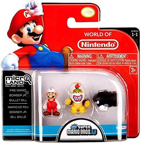 - Nintendo Mario Bros Universe Micro Wave 1: Fire Mario, Bowser Jr. and Bullet Bill Action Figure, 3-Pack