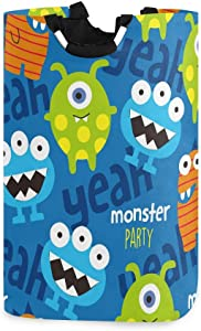 AGONA Cute Funny Monster Laundry Basket with Handles Large Storage Bin Collapsible Fabric Laundry Hamper Foldable Laundry Bag for Kids Room Toy Bins Gift Baskets Bedroom Baby Nursery