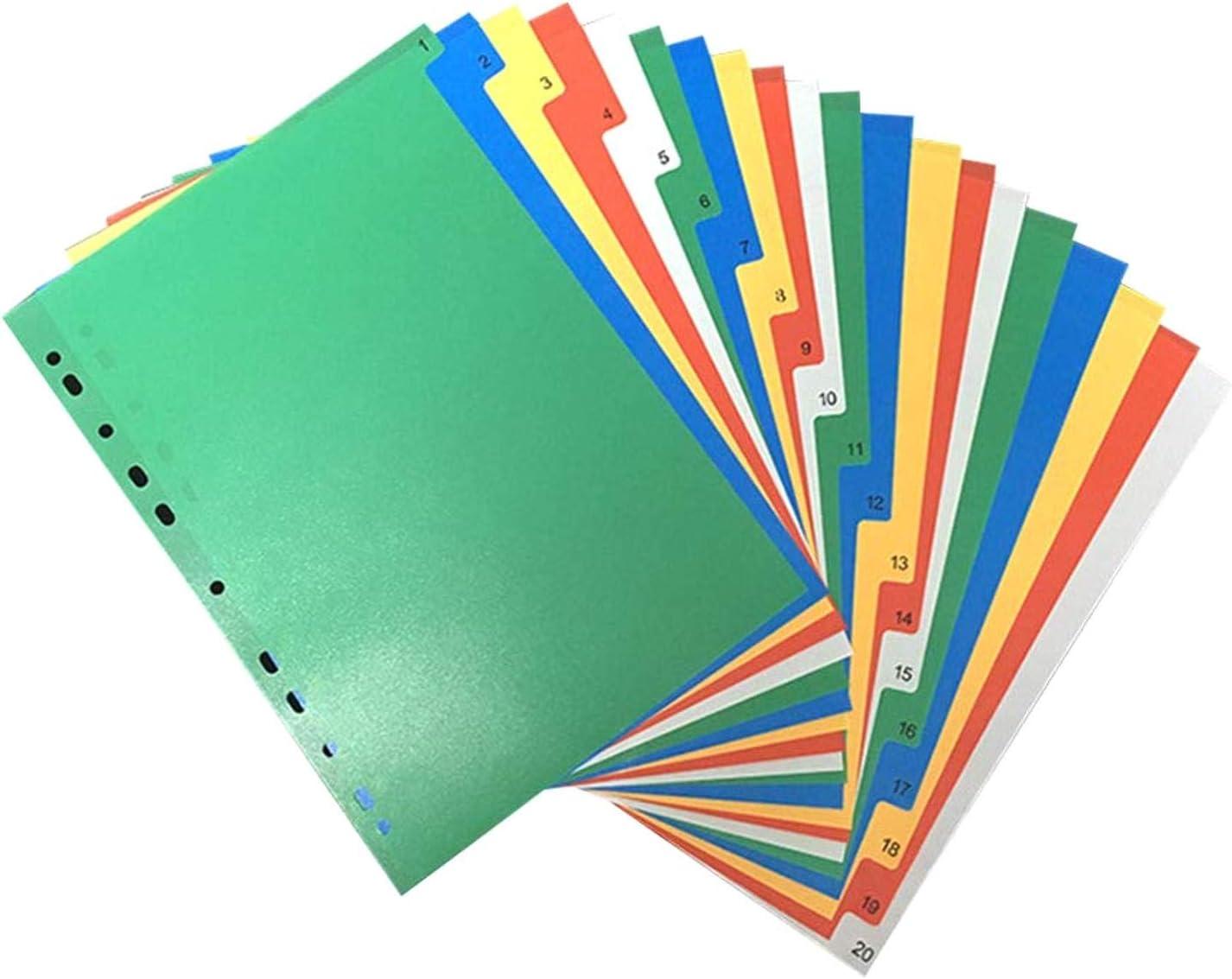 NHOUYAO 20 p/áginas A4 Carpeta /Índice de separadores de p/ágina Las Etiquetas de pl/ástico Clasificados Tab divisores Color n/úmero Impreso