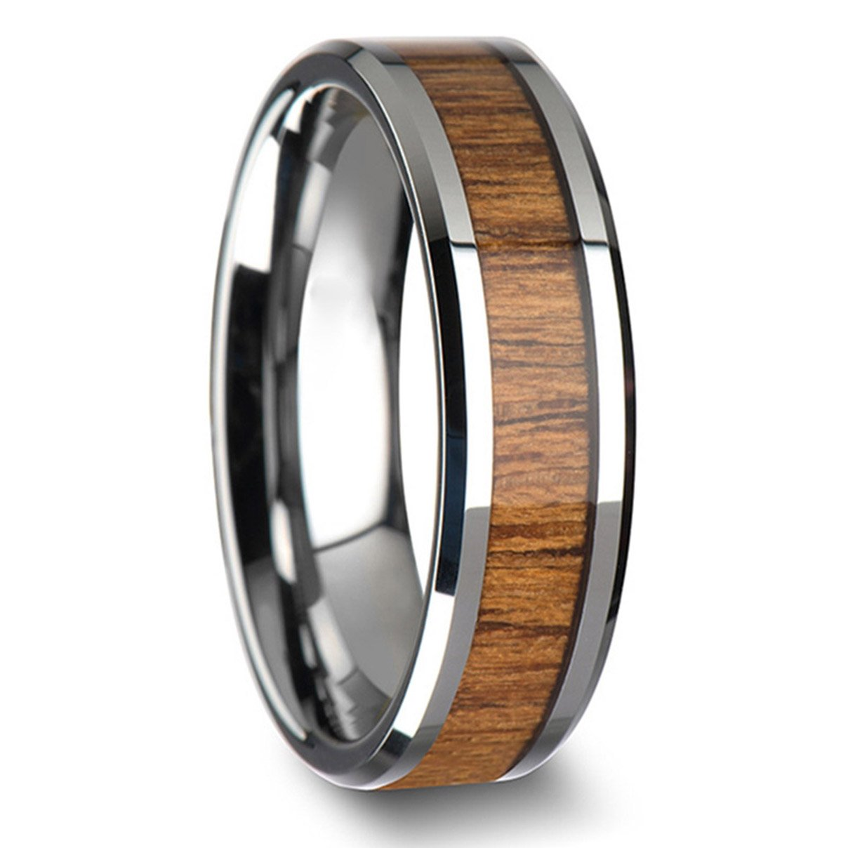 Kebaner Men Women 8MM Stainless Steel Ring Inlay Teak Wood Engagement Wedding Band Cool Gift Size 7-13 Kebaner Company KR08-6-ALL