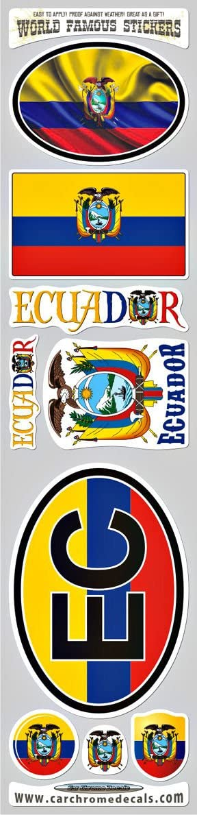 Ecuador 9 stickers set flags decals bumper stiker car auto bike laptop Car Chrome Decals