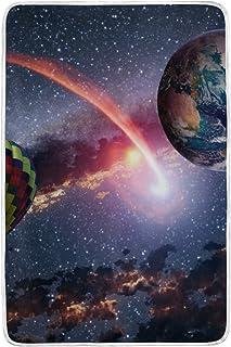 alaza Galaxy Terra E Mongolfiera in Microfibra di Poliestere Coperta del tiro 60' x 90' Leggera Coperta Accogliente Couch Blanket Bed da Mio Quotidiano