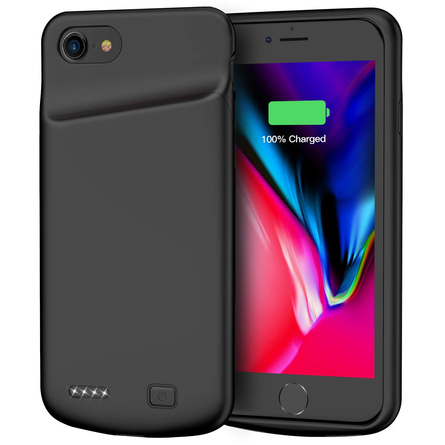 Battery Case for iPhone 7/8, 4500mAh Portable Rechargeable Protective Charging Case Compatible with iPhone 7/8 (4.7 inch) Extended Battery Pack Charger Case (Black) by Lonlif