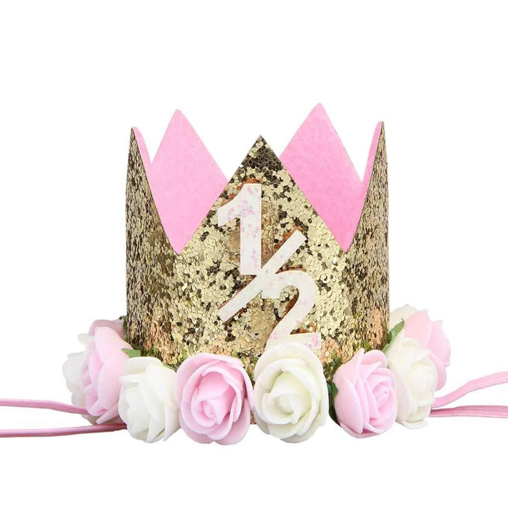 Sunlera Bébé Fille Garçon de fête d'anniversaire de Fleur Cap Bandeau 1/2 1 2 3 Année Numéro du Nouveau-né Chapeau d'anniversaire