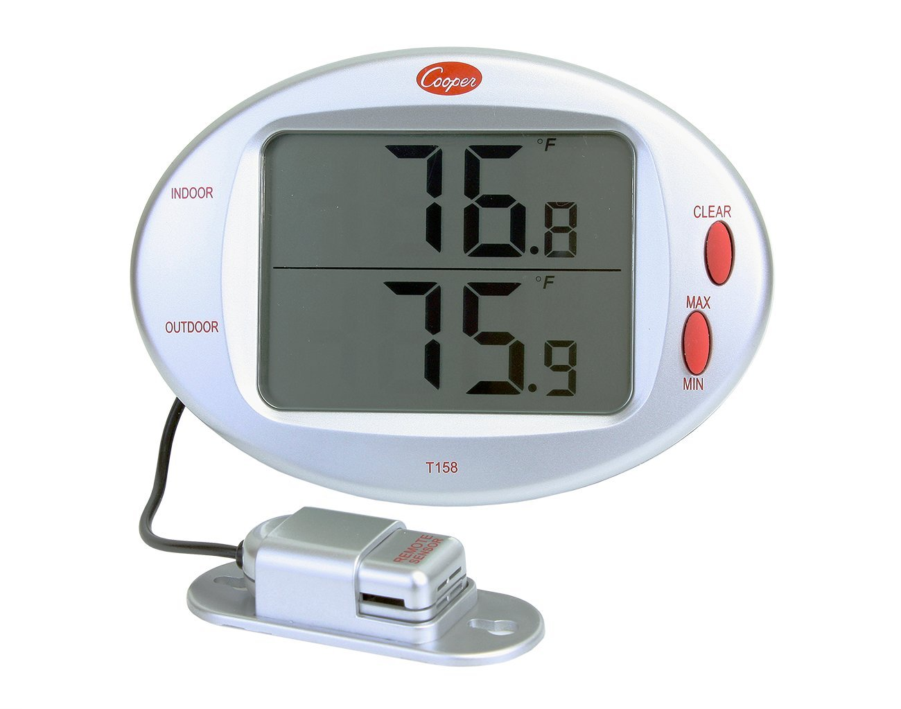 Cooper-Atkins T158-0-8 Digital Indoor/Outdoor Wall Thermometer with Remote Sensor, 32/122° F Temperature Range