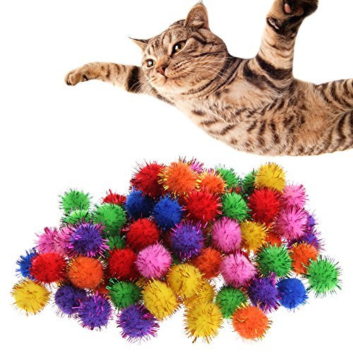 kathson 100Pcs Colorful Mini Sparkly Glitter Tinsel Balls Small Pom Ball For Cat Toys