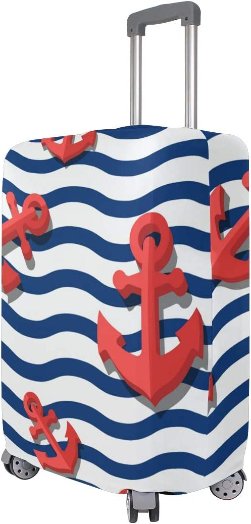 MALPLENA Blue Wave And Red Anchors Luggage Protector Suitcase Cover