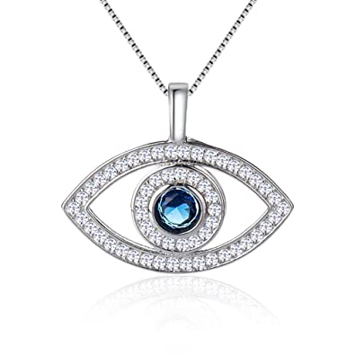 d88292d26 Citled Plated Silver Crystal Necklace Swarovski Pendant Element Ocean Heart  Necklace and Evil Eye and Heart