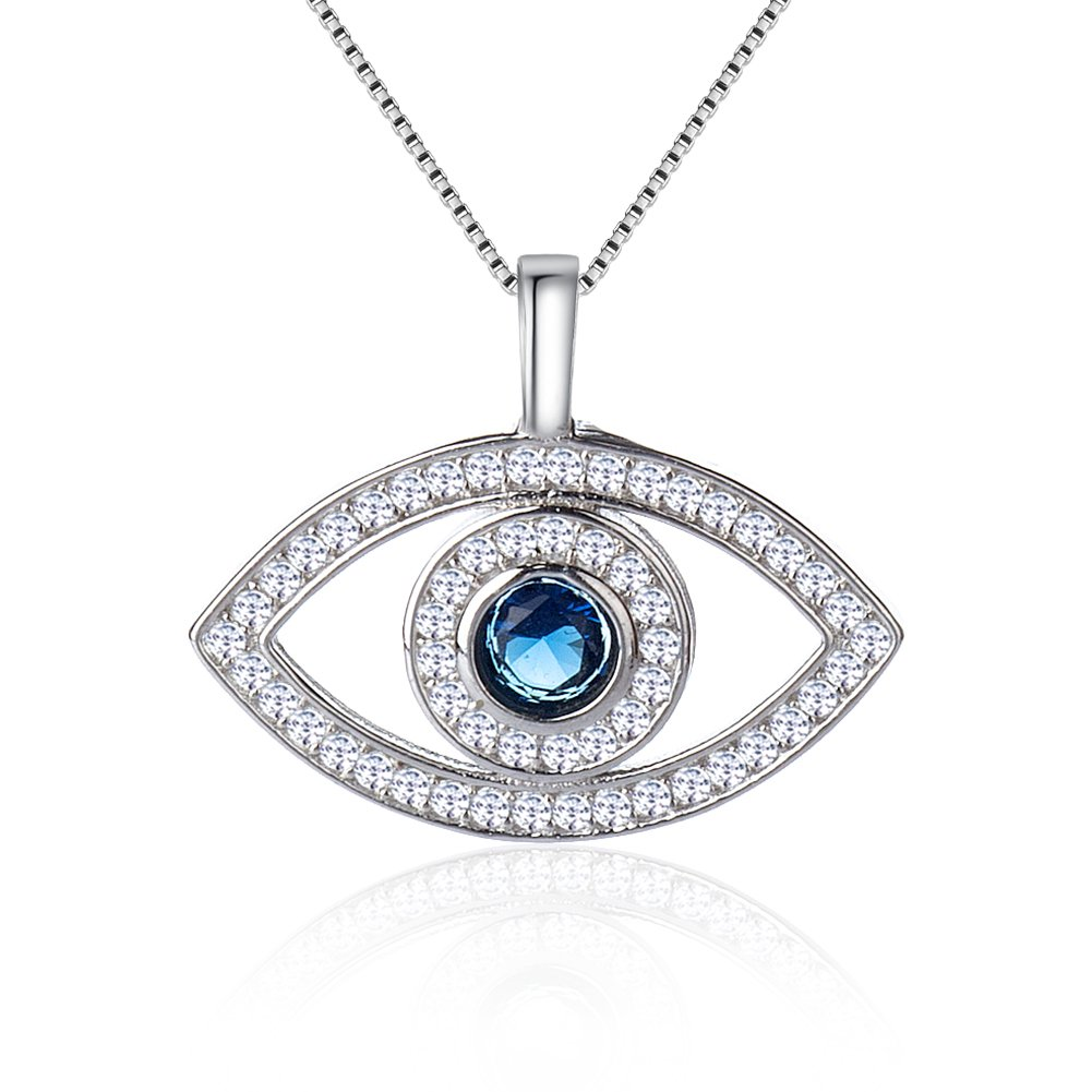 Citled Plated Silver Crystal Necklace Swarovski Pendant Element Ocean Heart Necklace and Evil Eye and Heart-Shaped and Pull Ring Pendent for Women 4 Styles CZ Inlaid Coming in Gift Box.
