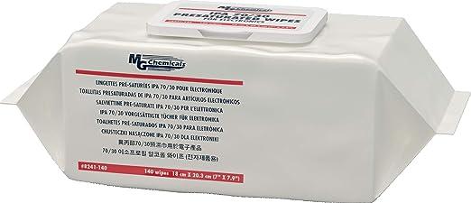 MG Chemicals 8241 IPA 70/30 TOALLAS PRESATURADAS - 140 toallitas en un empaque suave resellable