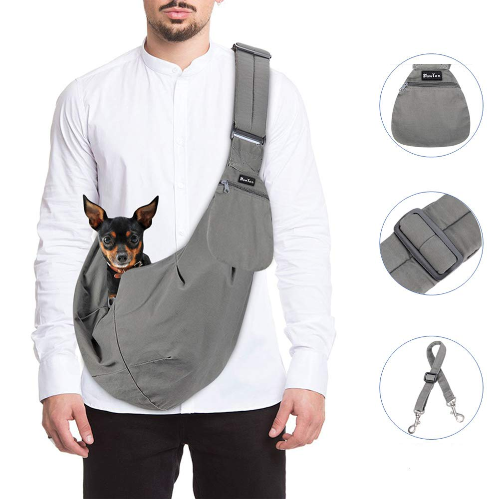 Slowton Hand Free Pet Sling Carrier (ADJUSTABLE & BREATHABLE COTTON SHOULDER)