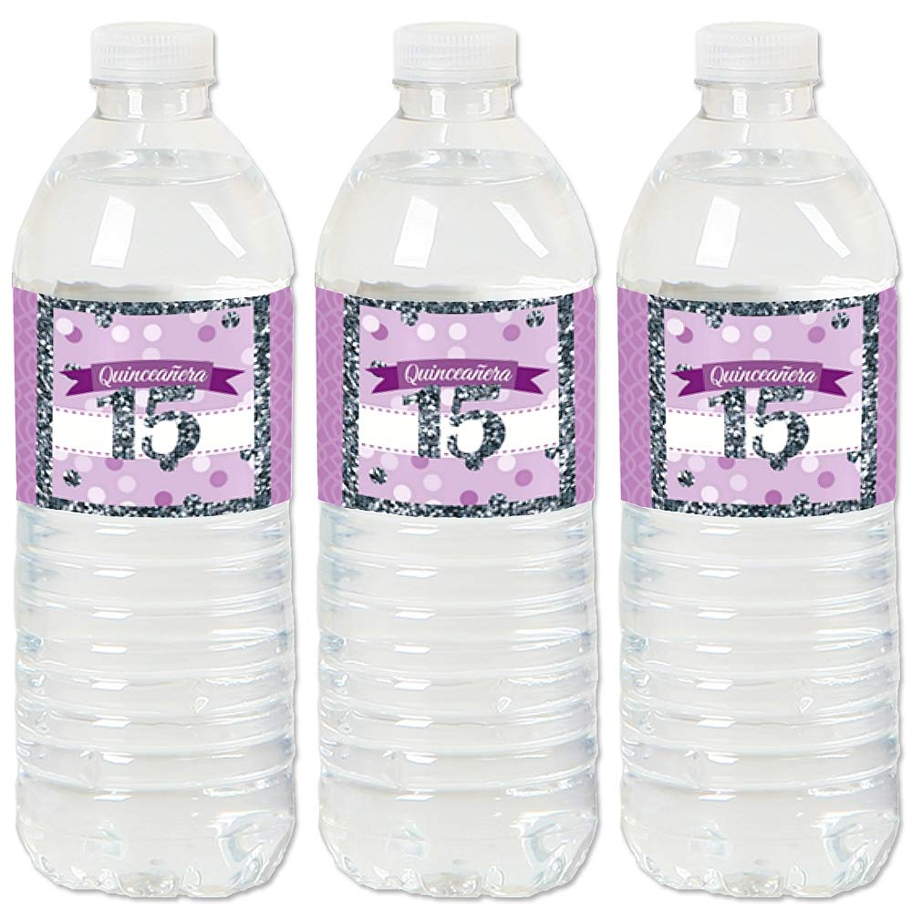 Sweet 15 Birthday Party Water Bottle Sticker Labels Quinceanera Purple Set of 20