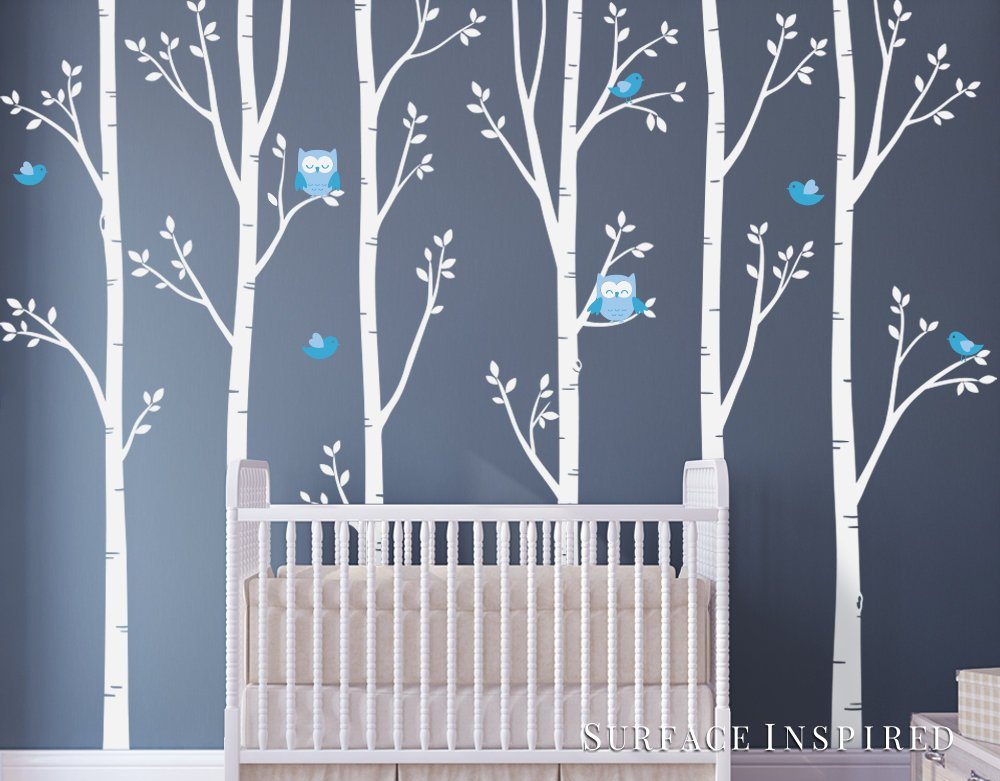 Nursery Wall Decals White Birch Trees With Owls Birds Wall Mural Stickers Nursery Tree Wall Decal From Surface Inspired 1077