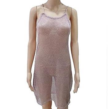 YJYda Sexy Blusa sin mangas Perspectiva Vestido de Playa Cubre Sarong Wrap Bikini, casual ,
