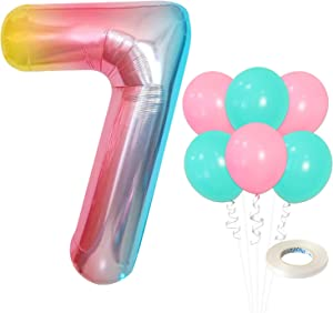 Rainbow Number 7 Balloon Set - Large, 40 Inch | Pink and Turquoise Latex Balloons, Pack of 6 | Colorful Gradient 7 Birthday Balloons | Mermaid and Unicorn Decor | 7 Balloon Numbers for 7 Year Old Girl