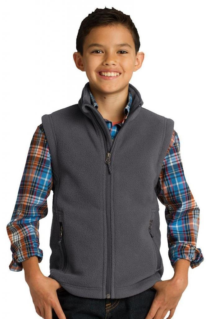 Port Authority Youth Super Soft Fleece Warmth Drawcord Vest_Iron Grey_Large