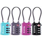 TSA Approved 3 Digit Luggage Cable Locks , Small Combination Padlock Ideal for Travel