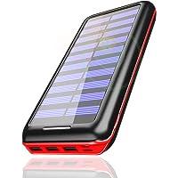 Powerbank PLOCHY 24000mAh Externer Akku , Solar Ladegerät mit 3 Ausgänge und Lighting & Micro Dual Input Power Bank Handy für iPhone, iPad, Samsung Galaxy und andere Smartphones