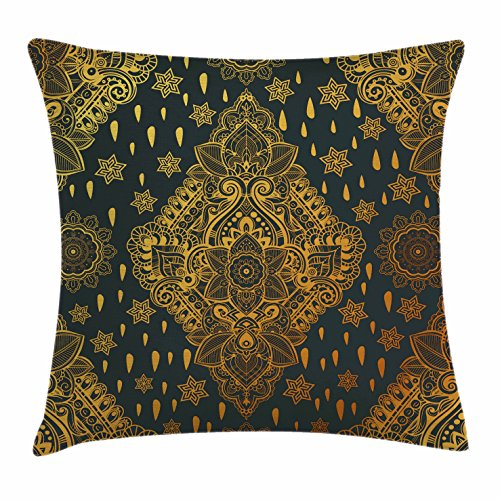 row Pillow Cushion Cover, Bohemian Paisley Ornament Henna Tattoo Ethnic Tribal Vintage Design, Decorative Square Accent Pillow Case, 18 X 18 inches, Charcoal Grey Mustard ()