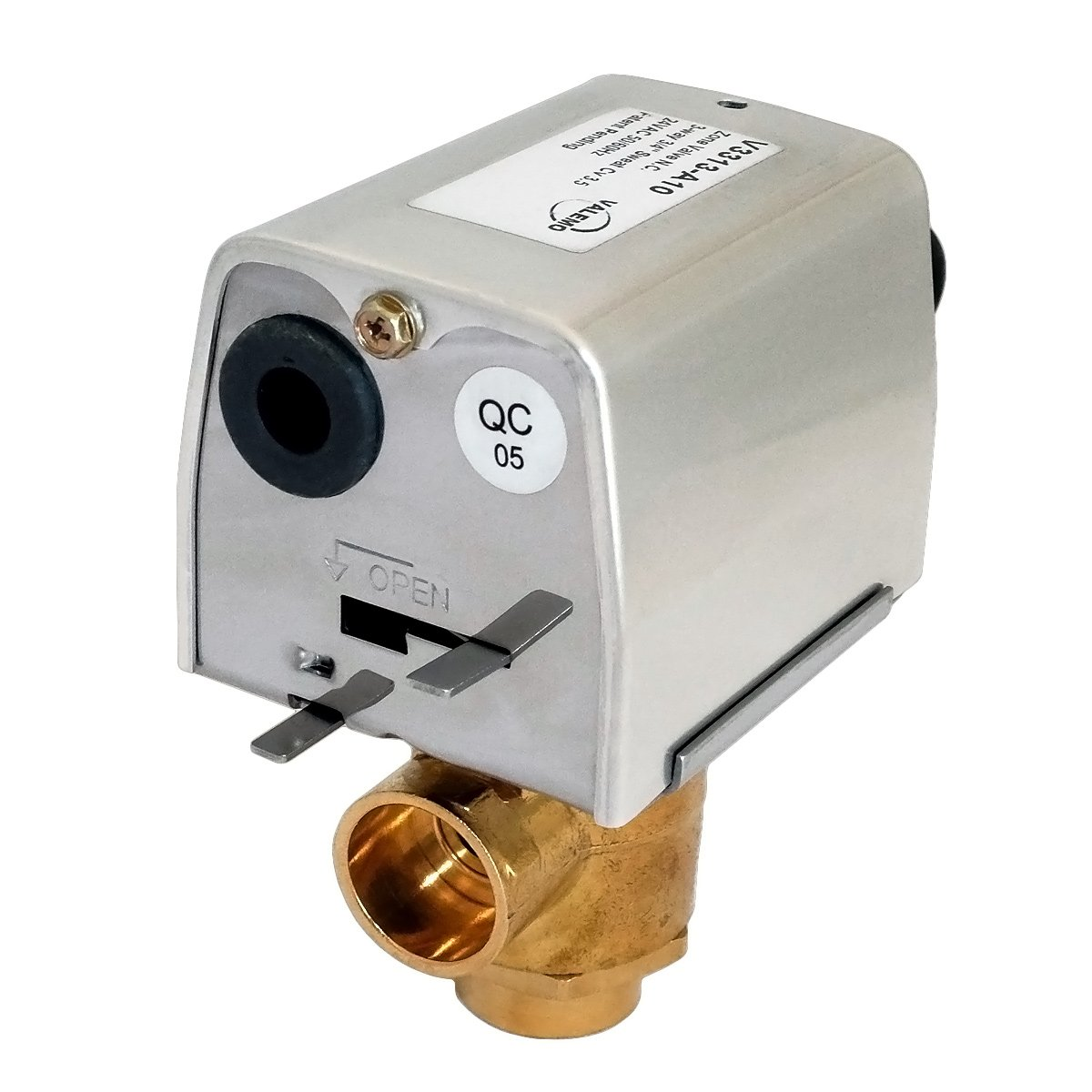 Valemo V3313-A10 Motorized Zone Valve, 3-way 3/4'', Sweat, 24 VAC, No End Switch