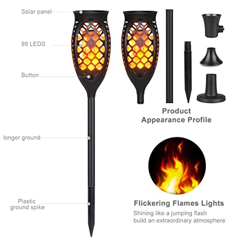 Tanbaby 2PC Solar Flame Light Solar Torch Lights Outdoor, Flickering Flames Torch  Lights Dawn Outdoor