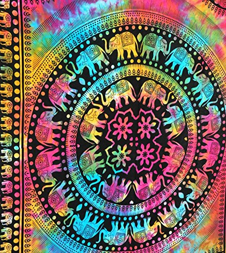 Jaipurhandloom Tie Dye Elephant Mandala Hippie Tapestry, Hippy Mandala Bohemian Tapestries, Indian Dorm Decor, Psychedelic Tapestry Wall Hanging Ethnic Decorative (Multi Color)- Jaipurhandloom