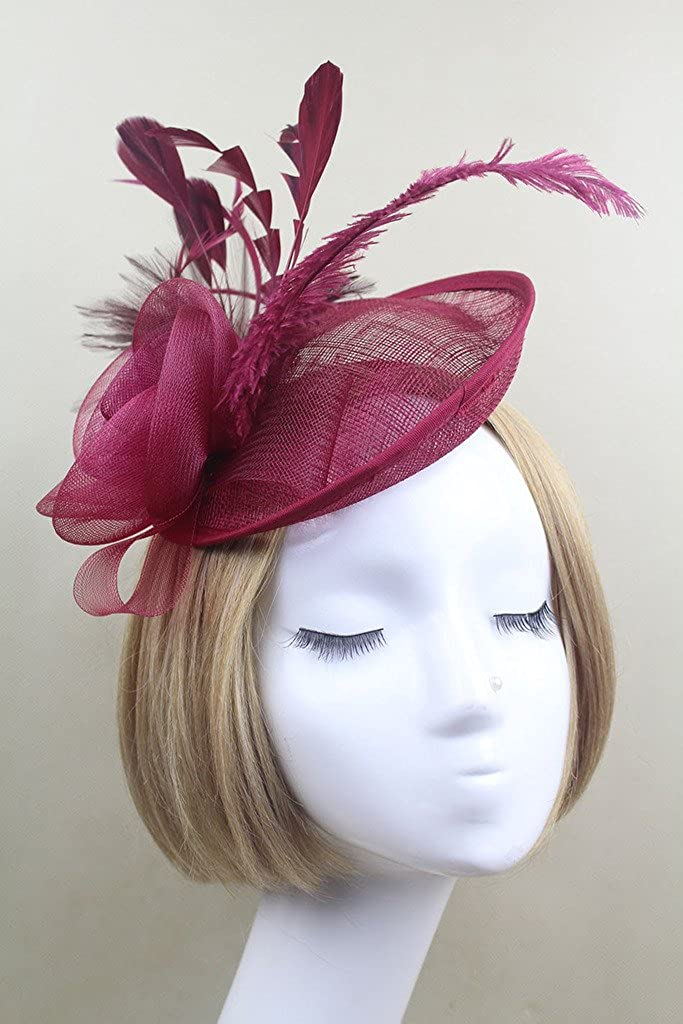 vimans Womens Handmade Flowers Feather Headwear Hat Fascinator with Headband