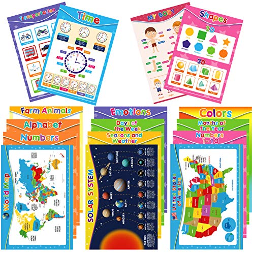 EVERJETTING 16 Pieces Educational Preschool Posters for Toddler Kid, Homeschool Early Learning Charts for Preschool…