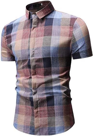 Camisas Hawaianas De Manga Corta con Botones Abajo A Cuadros De Hombre Top Blusa: Amazon.es: Ropa y accesorios