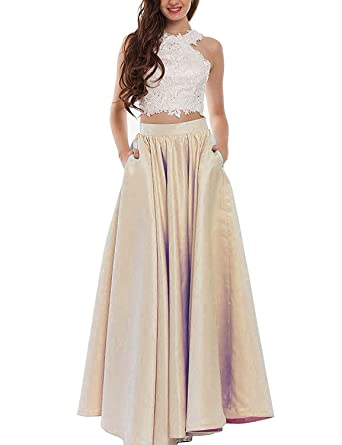 TrendProm Two Pieces Satin Floor Length Long Prom Dresses Size 6 US Champagne