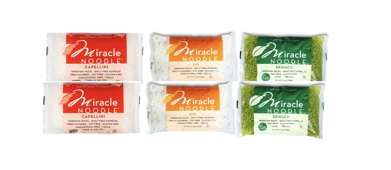 Miracle Noodle Zero Carb, Gluten Free Shirataki Pasta, Spinach Angel Hair, Ziti, Capellini Variety Pack, 7-Ounce, 6-Count