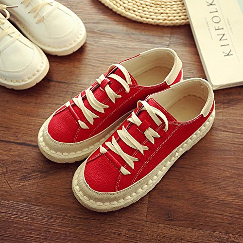 color plano pie cordones zapatos redondo del las 38 red NSX sólido zapato del de de fondo top cuero ocasionales bajo Dedo del de mujeres con punto de zSEEwPq