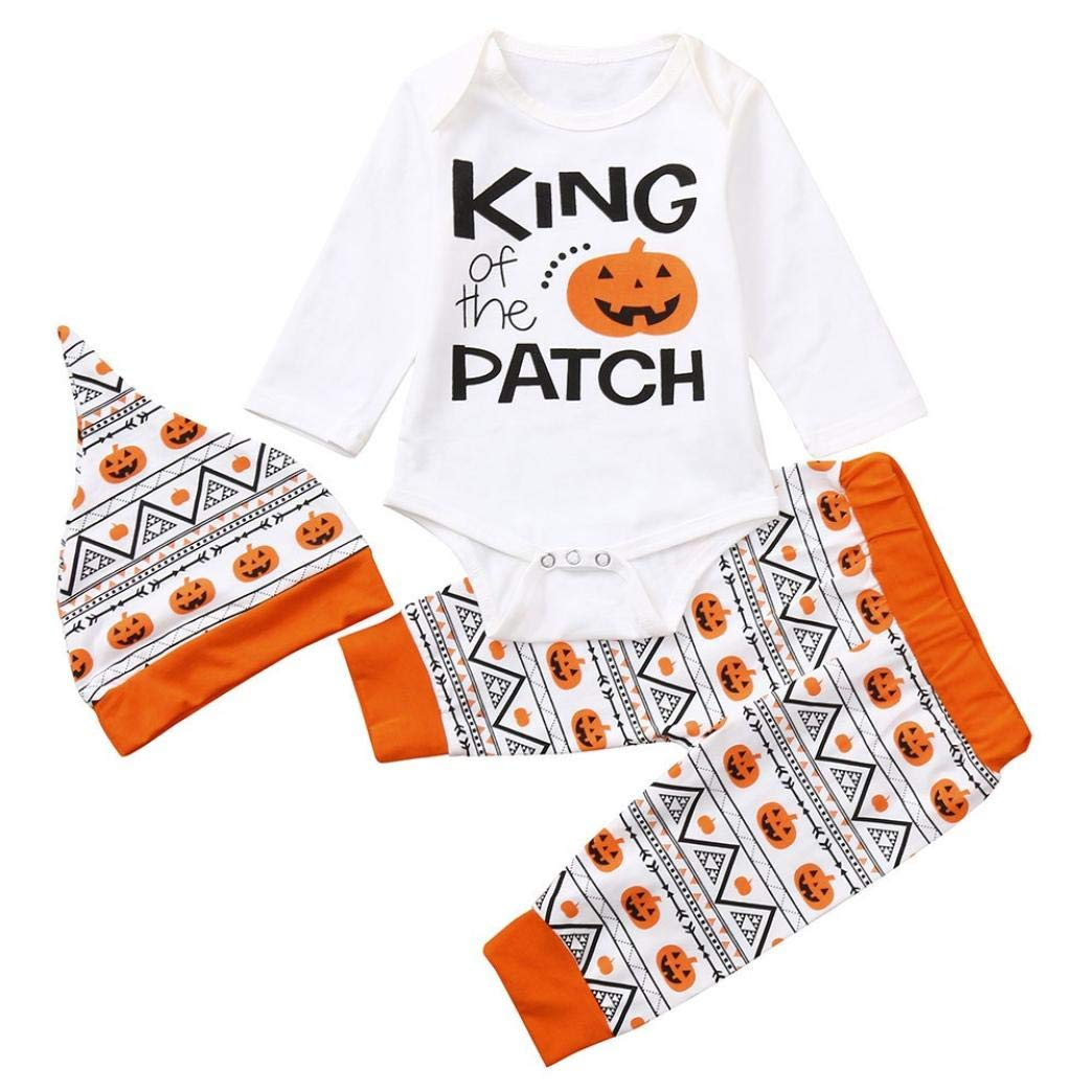 WARMSHOP Zero Shipping Newborn Baby Halloween Outfits Set Letter Print Long Sleeve Pumpkin Romper+Pants+Hat 3PC Set