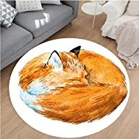 Nalahome Modern Flannel Microfiber Non-Slip Machine Washable Round Area Rug-or Cute Fox Sleeping Deep Funny Creature Kids Nursery Watercolor Art Design Apricot White area rugs Home Decor-Round 28