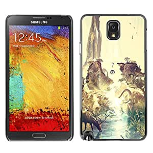 Caucho caso de Shell duro de la cubierta de accesorios de protección BY RAYDREAMMM - Samsung Note 3 N9000 - Dinosaurio surrealista Venado Tierra