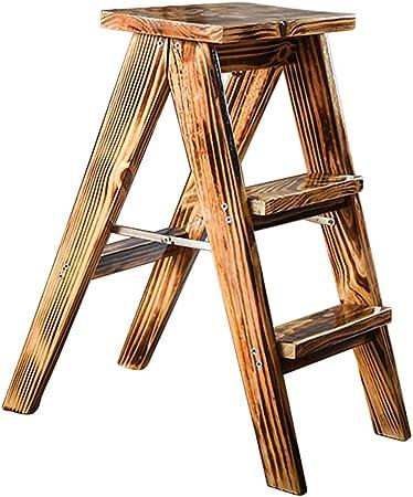 Escalera Plegable del Taburete, Taburete de Madera de la Escalera de 3 Pasos, taburetes Plegables del Paso para el huerto casero de la Cocina, Color Retro: Amazon.es: Hogar