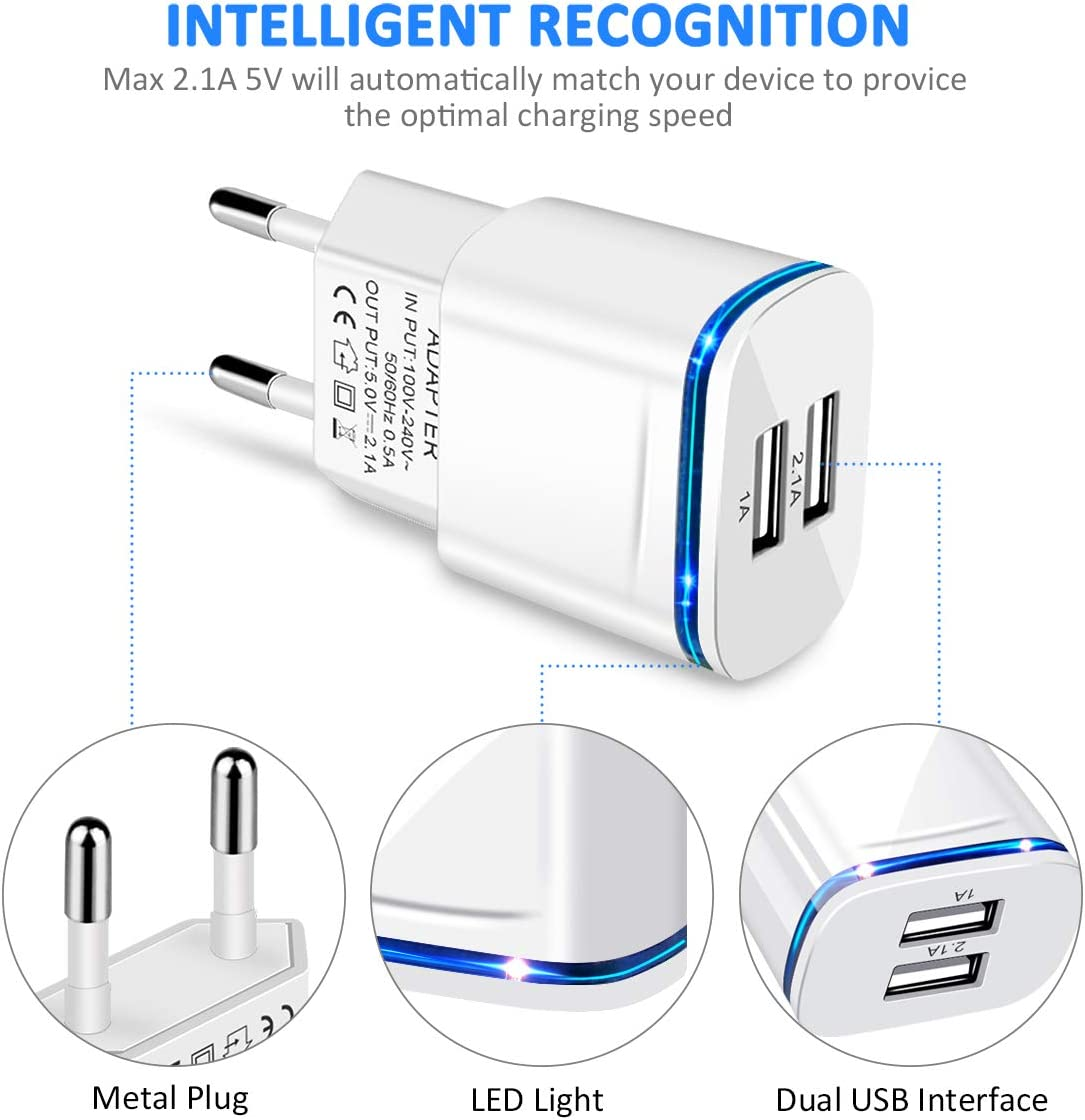 Moto PICILOO USB Plug Adaptor Samsung Galaxy S8//S7//S6 Edge iPad 2-Pack USB Charger 2.1A//5V Dual USB Wall Charger Power Travel Adapter for Phone XS XR X 8//7//6//6S Plus 5S LG HTC