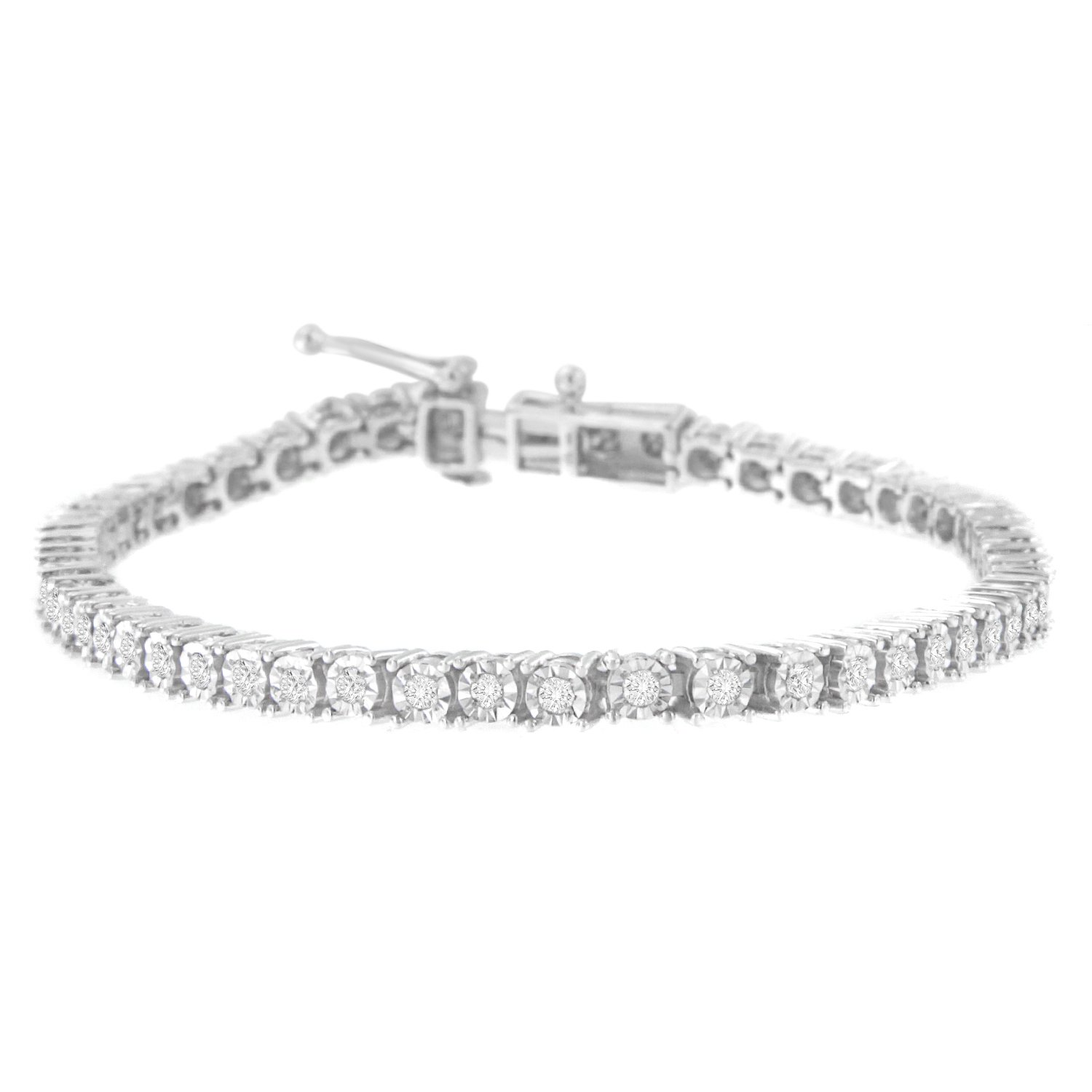 Sterling Silver Rose-Cut Diamond Tennis Bracelet (1 cttw, I-J Color, I3 Clarity)
